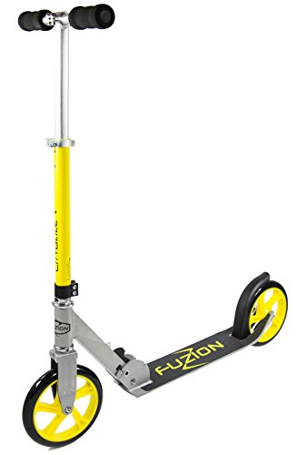 Fuzion Cityglide Adult Kick Scooter - 220lb Weight Limit - Folds Down - Adjustable Handle Bars - Smooth & Fast Ride (Silver/Yellow)