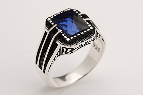 Rectangle Cut Shape - Turkish Style Handmade Jewelry Rectangle Shape Sapphire and Round Cut Black Zircon 925 Sterling Silver Men's Ring Size Option