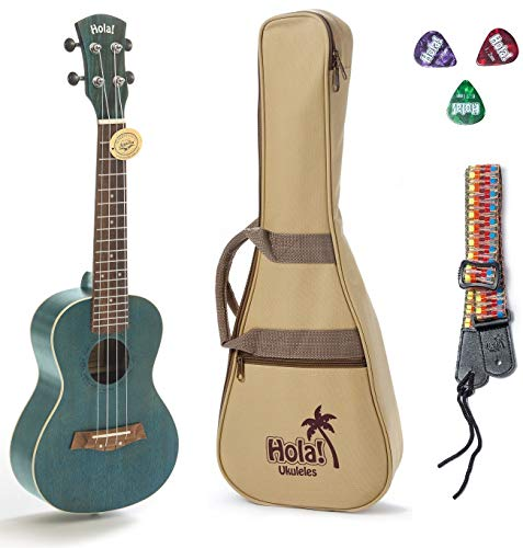 Concert Ukulele Bundle, Deluxe Series by Hola! Music (Model HM-124BU+), Bundle Includes: 24 Inch Mahogany Ukulele with Aquila Nylgut Strings Installed, Padded Gig Bag, Strap and Picks - Blue