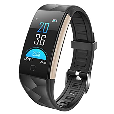 Fitness Tracker HR Heart Rate Monitor Activity Band Blood Pressure Sleep Monitor Pedometer, 0.96inch TFT Colorful OLED Screen Waterproof Bluetooth Smart Bracelet Iphone IOS Android (Black)
