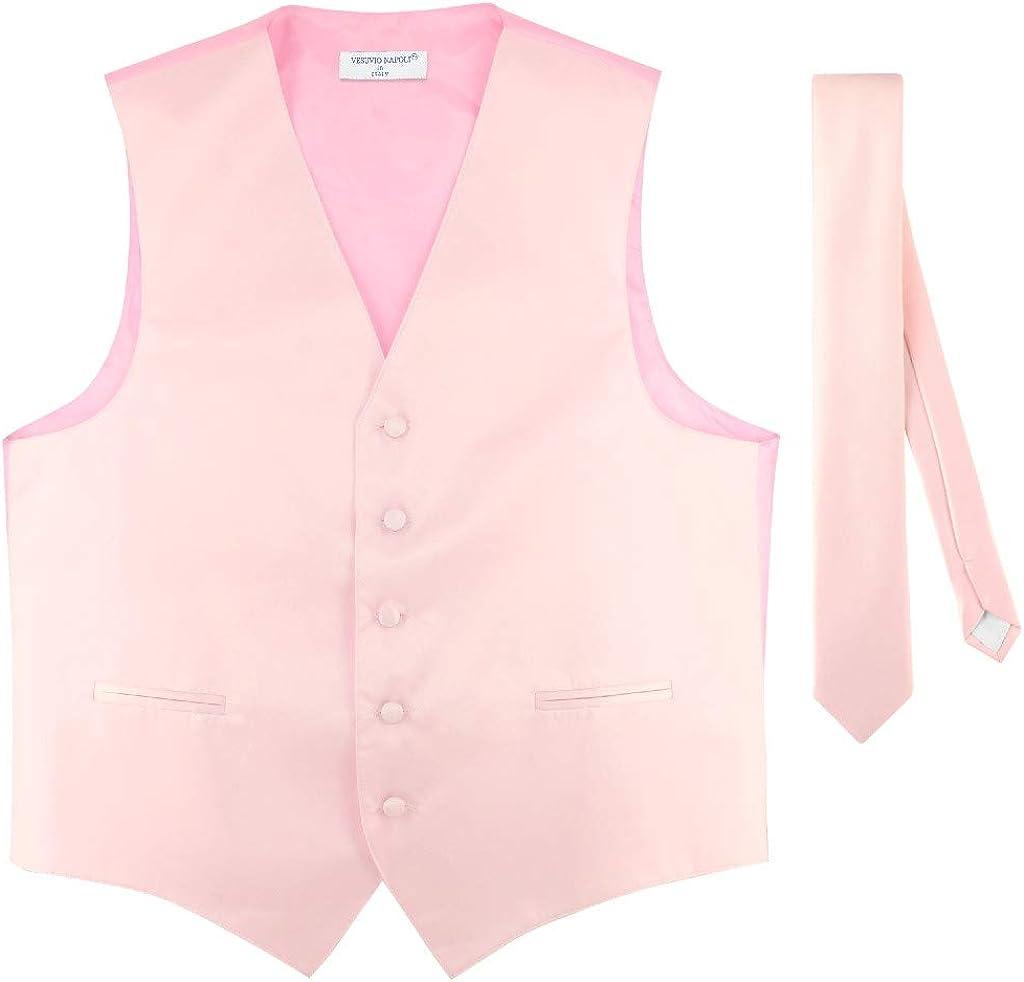 """Men's Dress Vest & Skinny NeckTie Solid Pink Color 2.5"""" Neck Tie Set"""
