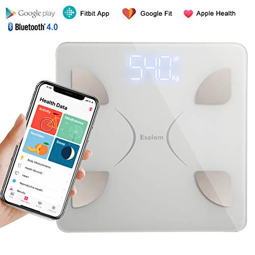 Body Fat Scale,Bluetooth Smart BMI Scale Wireless Digital Weight Scale, Body Composition Analyzer with Smartphone App for Body Weight, Fat, Water, Bone Mass, BMR, Muscle Mass (White) ()