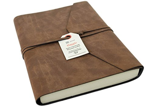 Viaggio Large Tan Handmade Recycled Leather Wrap Journal, Plain Pages (21cm x 15cm x 2cm)