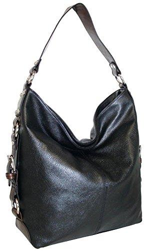 punto-uno-top-zip-bucket-bag-with-gusset-belting-detail-black