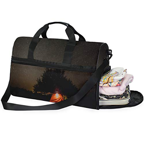 Travel Tote Luggage Weekender Duffle Bag, Tent Under The Night Sky Large Canvas shoulder bag with Shoe Compartment