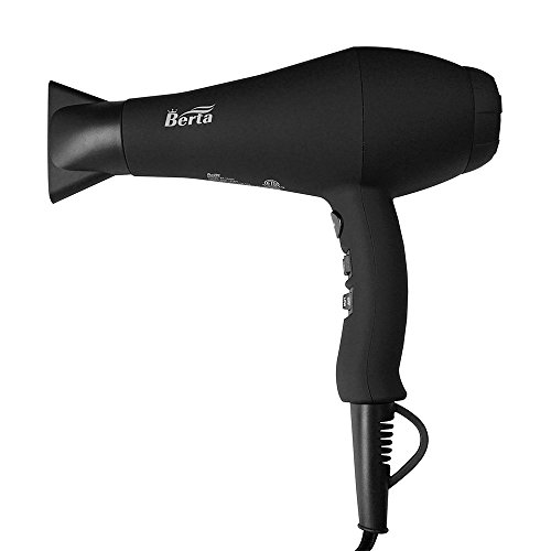 BERTA Professional Hair Dryer 1875W Negative Ions Hair Blow Dryer Far Infrared Heat 2 Speed and 3 Heat Setting AC...