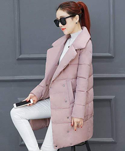 Lunga Invernale Trapuntata Giacca Termico Sciolto Rosa Outdoor Colori Donna Piumino Parka Casuale Piumini Manica Calda Bavero Invernali Costume Lunga Moda Solidi T5Hxxaqn