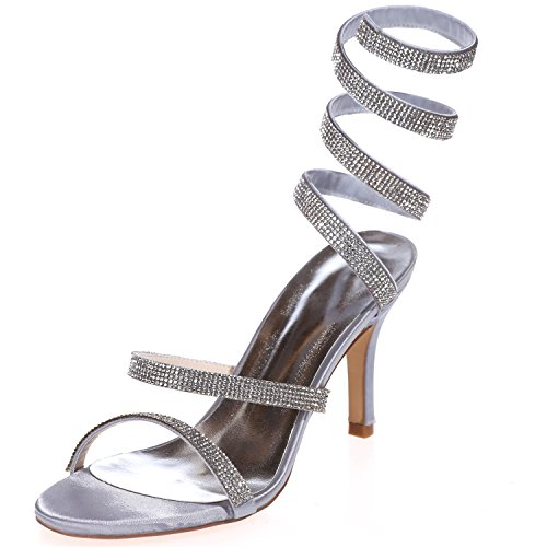 Sarahbridal Girls Sexy S-Curve Pumps Heels Satin Shoes With Glitter Rhinestone Crystal Party Nightclub For Women Size SZXF9920-10 (4 UK - 7.5 UK) Silver A3KZ2twG