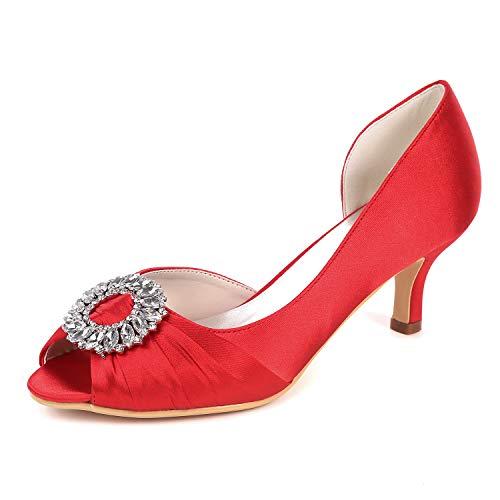 LLBubble Women Kitten Heels Peep Toe Wedding Shoes Satin Bridal Pumps Crystal Formal Party Dress Shoes-Red 1-10.5 ()