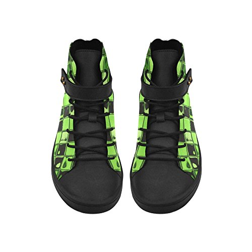 High Top Shoes D-Story Round Toe Abstract Tiles Green Womens Sneakers