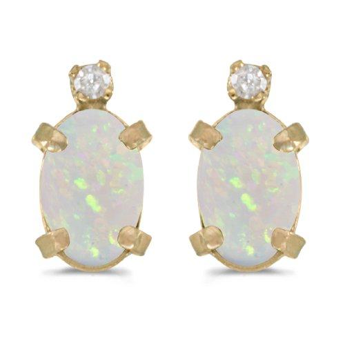 14k Yellow Gold Oval Opal And Diamond Earrings 14k Yellow Gold Opal Earrings