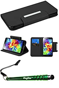 FoxyCase(TM) FREE stylus AND SAMSUNG Galaxy S5- S5 Black Book-Style MyJacket Wallet (with card slot) (722) Package) Best beautiful pocketbook, wallet, pouch