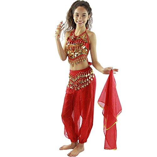 Danzcue Bollywood Little chili 5 piece Children Belly Dance Costume, Red, Small