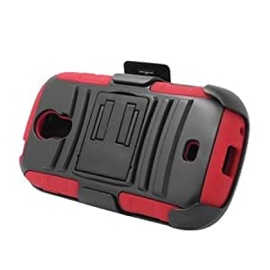 Cerhinu Eagle Cell Hybrid Skin Case with Stand and Holster for Samsung Galaxy Light/T399 - Retail Packaging - Red/Black...