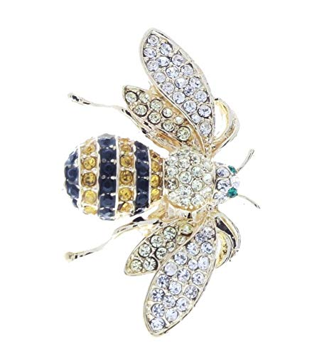 (ShopForAllYou Clothes brooches Yellow and Black Bumble Bee Hornet Insect Rhinestone Pin Broach Brooch)
