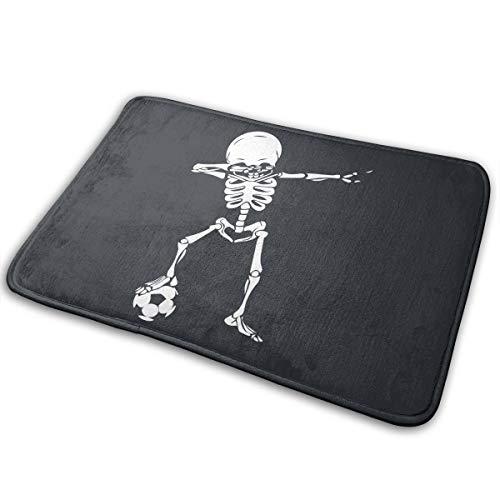 (LNUO-2 Indoor Outdoor Entrance Doormat Dabbing Skeleton Soccer Rug Floor Mats for Patio, Shoe Rugs)