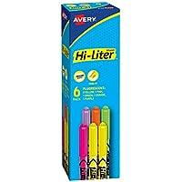 Avery Hi-Liters, tinta Smear Safe, punta de cincel, no tóxico, 6 resaltadores tipo pluma, colores surtidos (23565)