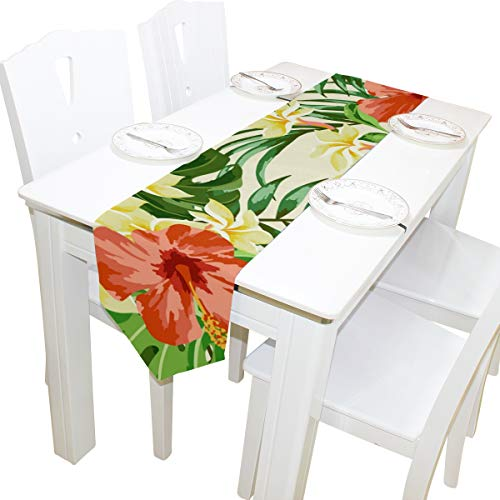 imobaby Tropical Hawaiian Plumeria and Hibiscus Flowers Table Runner Home Decor, Long Rectangle Tablecloth Mat for Wedding Party Banquet Decoration 13 x 90 -