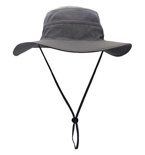 Home Prefer Men's Sun Hat UPF 50+ Wide Brim Bucket Hat Windproof Fishing Hats (Dark Gray)