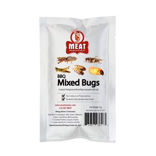 Meat Maniac BBQ Mixed Bugs | Edible Insects | Big Crickets, Sago Worms, Mole Crickets and Silkworms]()