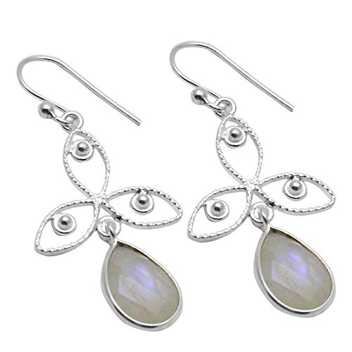 Silver Palace Sterling Silver Handmade And Natural Rainbow Moonstone Earring For Womens And Girls
