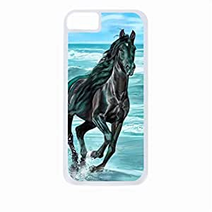 Black Horse Painting- Case for the Apple Iphone 6 4.7''-Hard White Plastic Outer Shell with Inner hard Black Rubber Lining