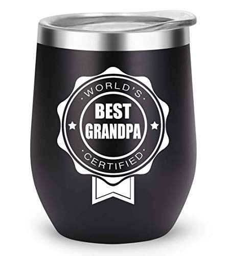 (Grandpa Gifts Funny Mug, Personalized Grandfather Gifts for Fathers Day Christmas, Birthday Decorations Supplies, Unique Travel Wine Tumbler for Granddaddy (Black, Best Grandpa))