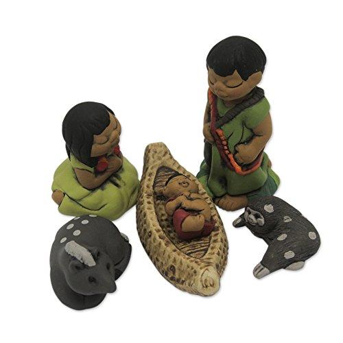 NOVICA 'an Ashaninka Christmas' (6 Pieces) Ceramic Nativity Scene