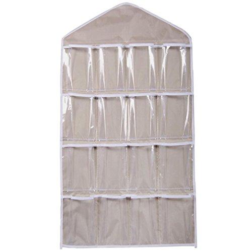 Wall Hanging Storage Bag,IEason 16Pockets Clear Hanging Bag Socks Bra Underwear Rack Hanger Storage Organizer (Beige)