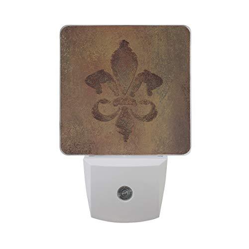 Plug-in Night Light, Fleur De Lis Grunge Pattern LED Nightlight, Dusk-to-Dawn Sensor for Bedroom Bathroom Kitchen Hallway Living Room