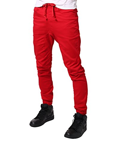 - JD Apparel Men's Slim Fit Drawstring Harem Jogger Baggy JeansPants, Apg804_red, Small