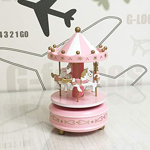 Wooden Merry-Go-Round Carousel Music Box Kids Toys Gift Wind-Up Musical Box,Pink