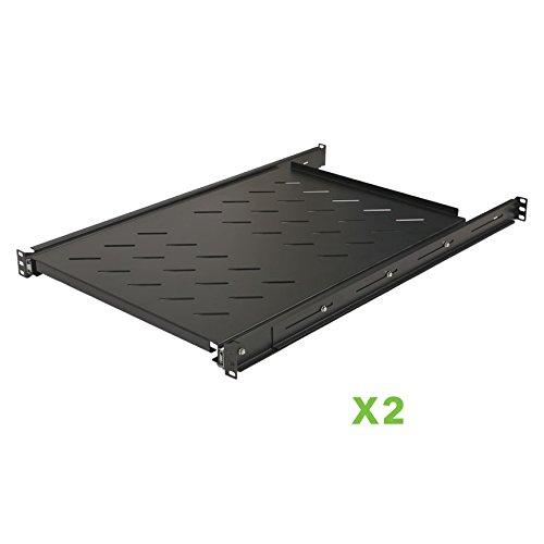 "Price comparison product image NavePoint Sliding Rack Vented Server Shelf 1U 19"" 4 Post Rack Mount 29.50"" (750mm) Deep Set of 2 Black"