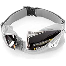 "Tenplus Running Waist Pack Compatible Sharp A2 Lite FS8026 5.7"", Waterproof Reflective Adjustable Running Belt with Dual Pouch Workout Fitness Gym Phone Holder for Men, Women (Gray)"