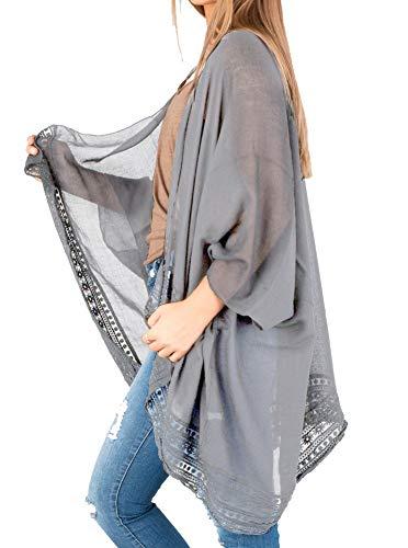 Women Lace Trim Boho Kimono Cover Up Loose Chiffon Blouse Long Cardigan Grey Large