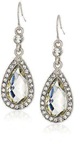 1928 Jewelry Silver-Tone Crystal Faceted Pearshape Drop Earrings