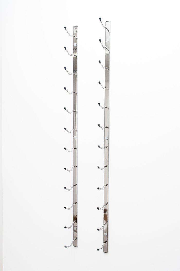 VintageView WS61 6-Foot 18 Bottle Metal Wall Mounted Wine Rack in Chrome (1 Row Deep)