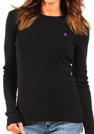 e8a562af8b4301 Ralph Lauren - Haut en tricot à manches longues - noir logo lilas - femme