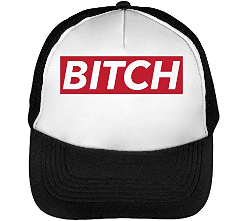 Bitch Red White Fonted Funny Slogan Gorras Hombre Snapback Beisbol Negro Blanco