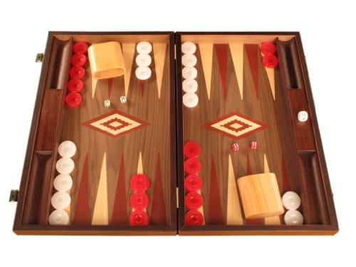 Walnut Wood Backgammon Game Set - Large Board, Brown / Red
