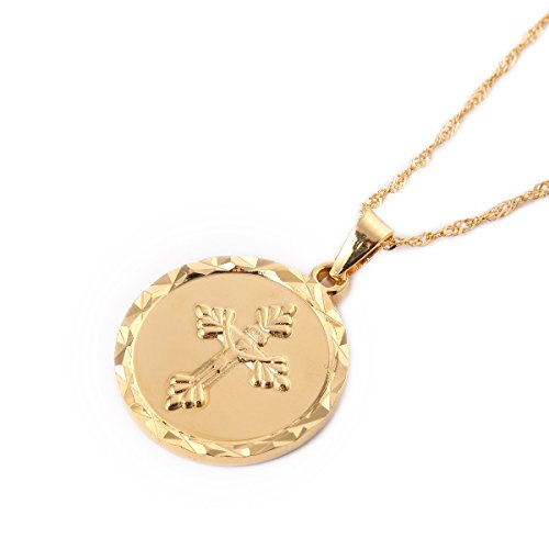 24K Gold Plated Catholic Round Medal Jesus Christ Crucifix Pendant Necklace Jewelry