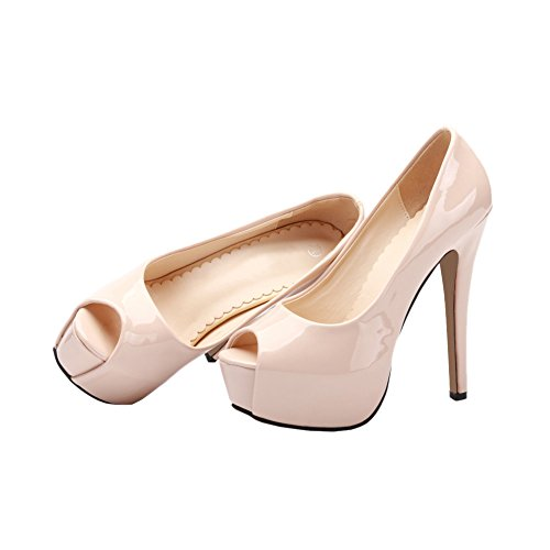 High Stilettos Heels Nude Party Shoes Women's Pu Platform Peep Wedding Pumps Suede Toe w4YxYqX6F