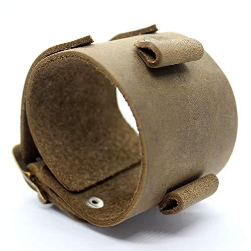 Steampunk Johnny Depp design double buckle leather bracelet for wrist watch - black leather cuff for watches lug size 18, 20 or 22 mm (Johnny Depp Steampunk)