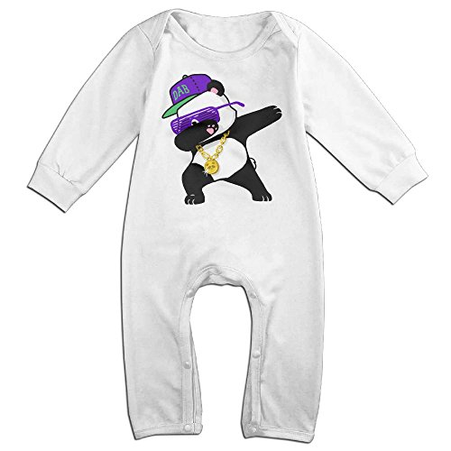 [Baby Infant Romper Dabbing Panda Long Sleeve Bodysuit Outfits Clothes White 6 M] (Panda Bear Baby Plus Size Costumes)
