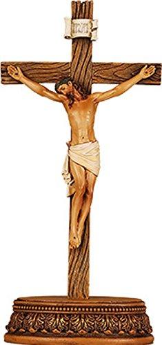 9 (23cm) high JESUS Crucifix Free Standing Resin Wood effect Cross & Corpus Christi. Boxed by - Christi Shopping Corpus