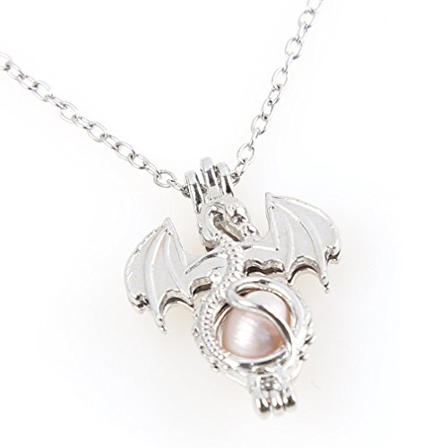 Iumer Dragon Shape Necklace Natural Freshwater Pearl Bead Cage Locket Pendant Necklace Girls Charm Necklace Jewelry Surprise Gifts For Women Random Color (Pearl Womens Charm)