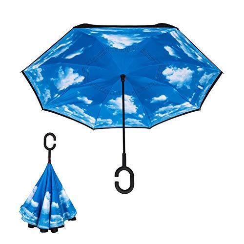 Biback Paraguas invertido, Paraguas a Prueba de Viento, Paraguas al revés, Paraguas para Mujeres con protección UV, Paraguas al revés con Mango en ...