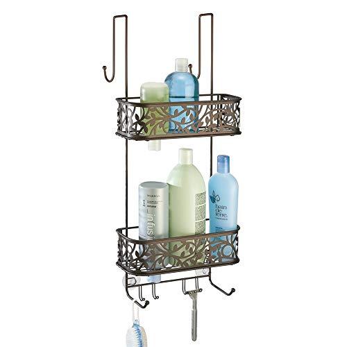 mDesign Metal Over Door Bathroom Tub & Shower Caddy, Hanging