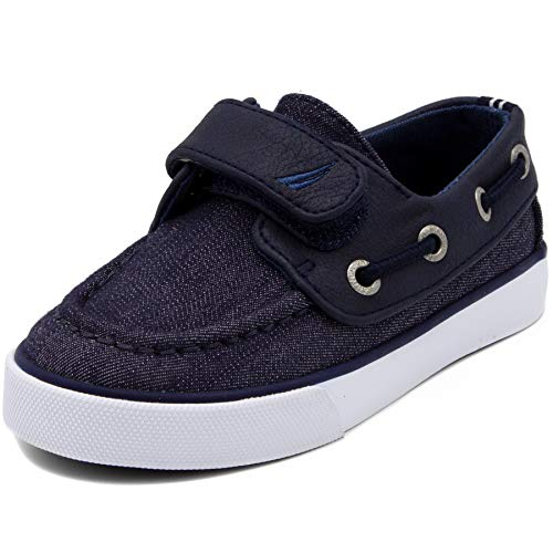 Nautica Kids Little River Boat Shoe -Sneaker - Casual Adjustable Straps-Navy Mix-10 ()