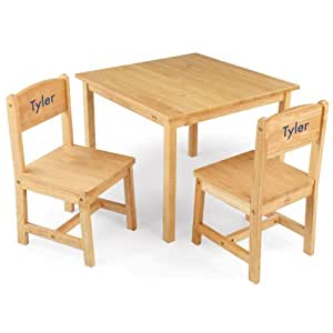 KidKraft Aspen Table and Chair Set Natural with Blue Block - Tyler